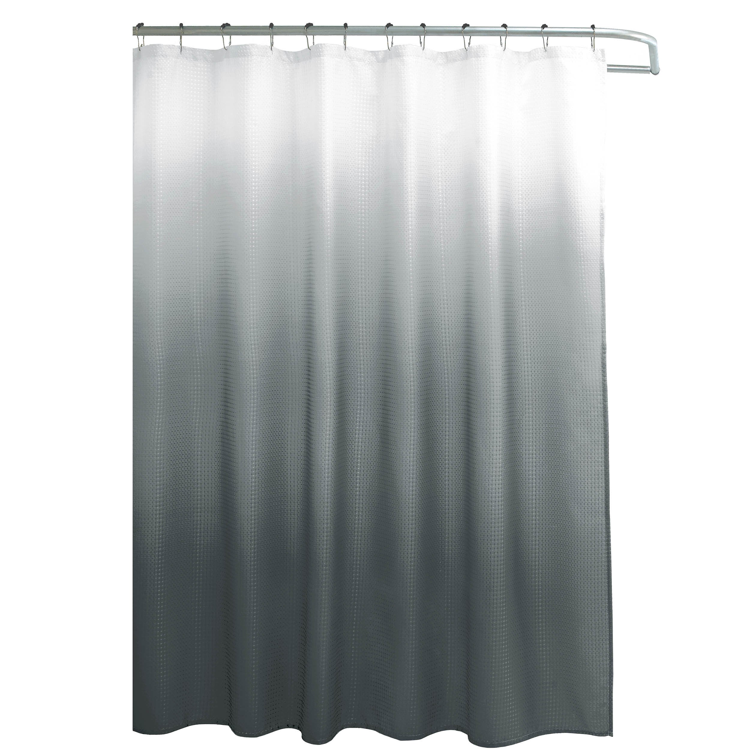 Creative Home Ideas Ombre Waffle Weave Shower Curtain W 12 Color Coordinating Metal Rings