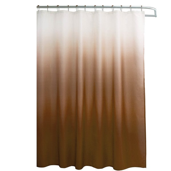 brown and orange shower curtain. Creative Home Ideas Ombre Waffle Weave Shower Curtain w  12 Color Coordinating Metal Rings Free Shipping On Orders Over 45 Overstock com 19636653