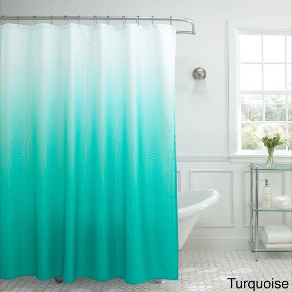 Creative Home Ideas Ombre Waffle Weave Shower Curtain w/ 12 Color ...