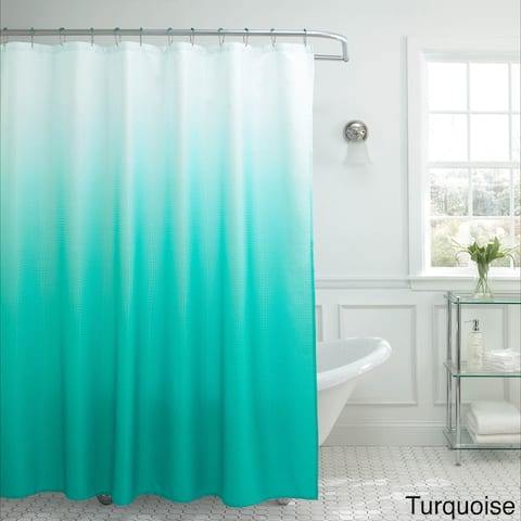 Creative Home Ideas Ombre Waffle Weave Shower Curtain w/12 Metal Rings