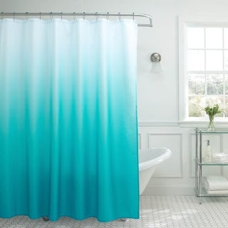 Creative Home Ideas Ombre Waffle Weave Shower Curtain w/ 12 Color Coordinating Metal Rings