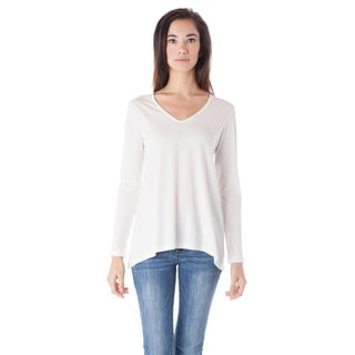AtoZ Long Sleeve Cotton V-neck Flare Top