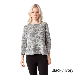 AtoZ Long Sleeve Textured Knit Reversible Top