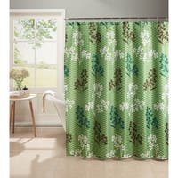 Creative Home Ideas Whimsy Leaves Diamond Weave Shower Curtain with Metal Roller Hooks