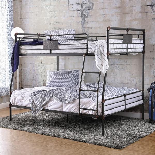 shop furniture of america herman industrial antique black full over queen bunk bed on sale. Black Bedroom Furniture Sets. Home Design Ideas