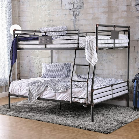 Herman Modern Full Over Queen Antique Black Bunk Bed by FOA