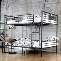 Furniture of america herman industrial antique black queen for Furniture of america pello full over full slatted bunk bed