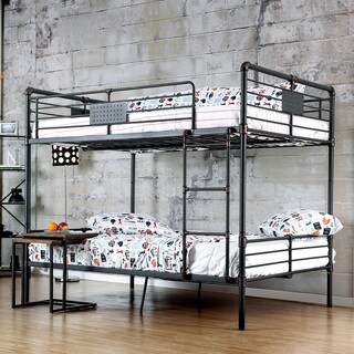 Furniture of America Herman Industrial Antique Black Full over Full Bunk Bed