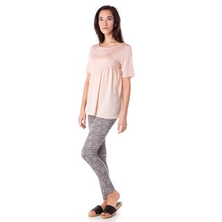 AtoZ Women's Pink Cotton/Rayon Asymmetric Gathered Flare Top
