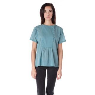 AtoZ Women's Women's Cotton Blue Side Button Short Sleeve Top