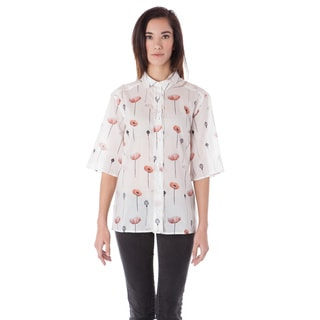 AtoZ Printed Button-down Cotton Voile Shirt