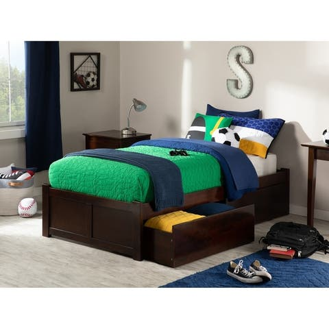 Concord Twin XL Platform Bed with Flat Panel Foot Board and 2 Urban Bed Drawers in Walnut