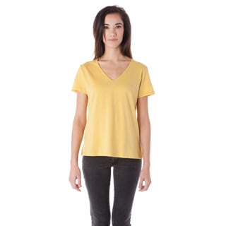 AtoZ Women's V-neck T-shirt with Side Slits