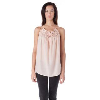 AtoZ Women's Ruffled Cotton Sleeveless Thin-strap Top