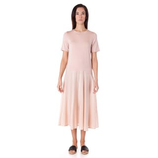 AtoZ Women's Pink Cotton Short-seeved Loose Dress
