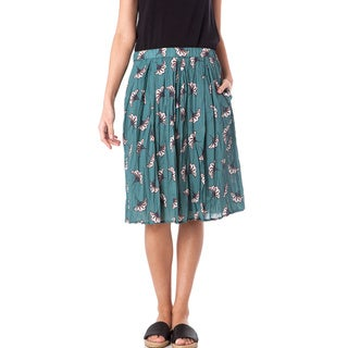 AtoZ Printed Cotton Voile Wrinkled Skirt with Lining