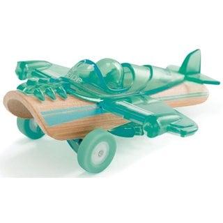 Hape Blue Plastic and Wood Plane Toy