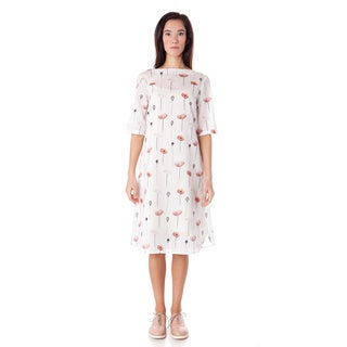 AtoZ Boat Neck Printed Lightweight Cotton Loose Dress