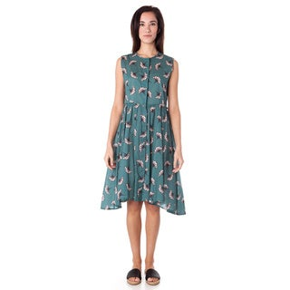 AtoZ Printed Button-down Sleeveless Cotton Dress