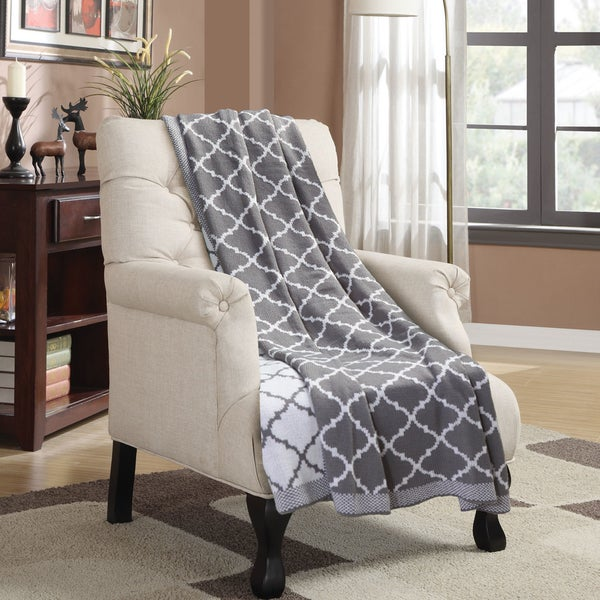 Knitted Trellis Throw Blanket Soft All Season Blanket