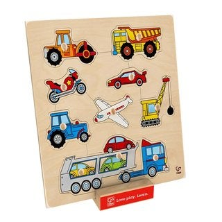 Hape Children's Bamboo Vehicles Knob Puzzle