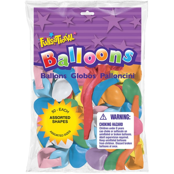 Pioneer National Latex 93415 Funsational Balloons Assorted Shapes 50-count