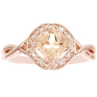 H Star 10k Rose Gold Cushion-cut Morganite and Diamond Accent Engagement Ring