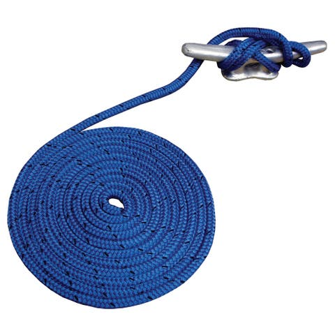 """Attwood 11702-7 3/8"""" X 15' Blue Double Braided MFP Dock Line"""