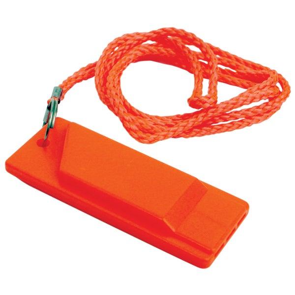"Attwood 11829-6 1-7/64"" X 2-51/64"" X 5/16"" Orange Flat Safety Whistle"