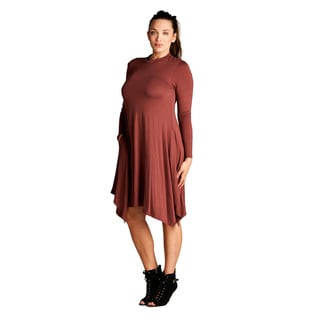 Spicy Mix Women's Ainsley Rayon Long-sleeve Relaxed Fit Solid Piko Dress
