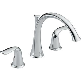 Delta Lahara 2-Handle Deck-Mount Roman Tub Faucet Trim Kit Only in Chrome (Valve Not Included) T2738