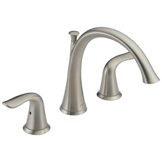 Delta Lahara 2-Handle Deck-Mount Roman Tub Faucet Trim Kit Only in Stainless (Valve Not Included) T2738-SS