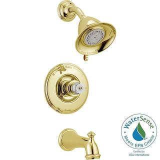 Delta Victorian 1-Handle 3-Spray Tub and Shower Faucet Trim Kit Only in Polished Brass (Valve and Ha