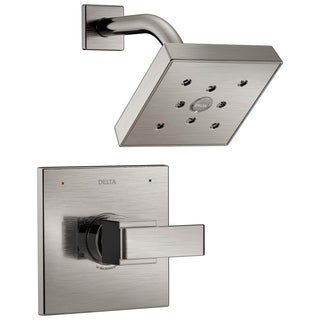 Delta Ara 1-Handle Shower Faucet Trim Kit in Stainless Featuring H2Okinetic (Valve Not Included) T14267-SS