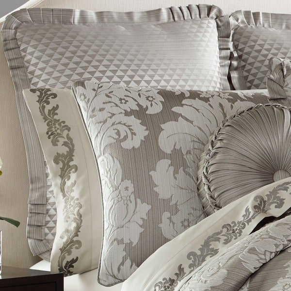 Five Queens Court Carly Woven Diamond Euro Sham with Pleats