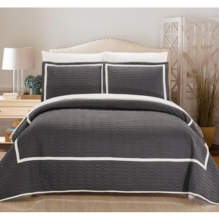 Chic Home 3-Piece Marla Grey Hotel Collection Quilt Set