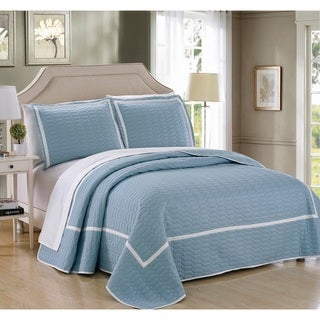 Link to Chic Home 3-Piece Marla Blue Hotel Collection Quilt Set Similar Items in Quilts & Coverlets