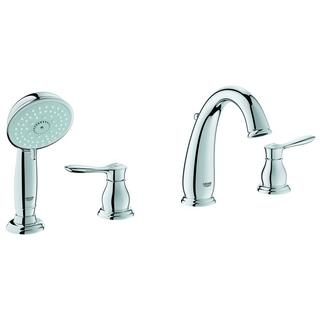Grohe Parkfield 8-3/16 in 4-hole Roman Tub Filler with Personalized Handshower in StarLight Chrome