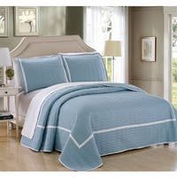 Chic Home 7 Piece Marla Blue Quilt in a Bag Quilt Set