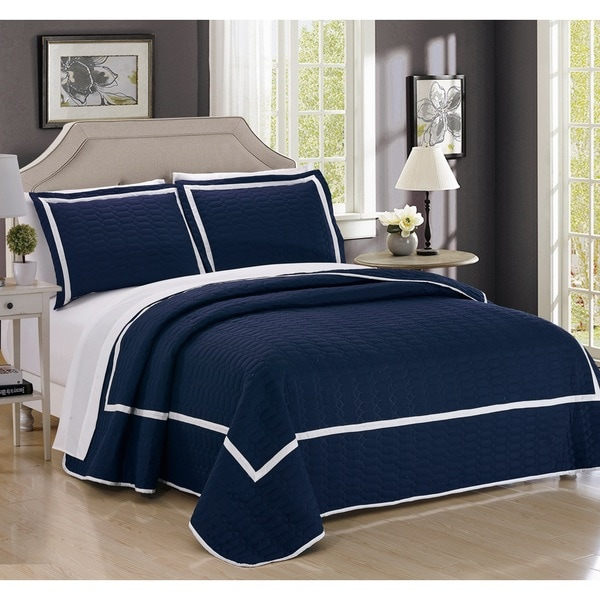 Chic Home 7-Piece Marla Navy Quilt in a Bag Quilt Set