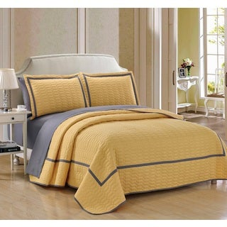 Chic Home 7 Piece Marla Yellow Quilt in a Bag Quilt Set