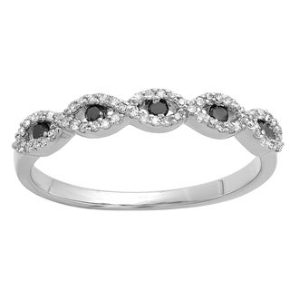 14k White Gold 1/4ct TDW Round Black and White Diamond Stackable Wedding Band Swirl Ring (I-J, I2-I3)
