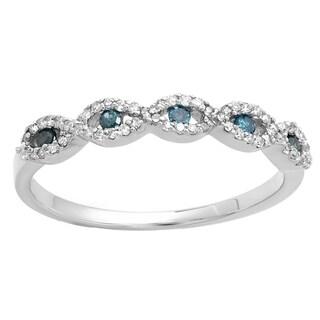 14k White Gold 1/4ct TDW Blue and White Diamond Bridal Stackable Wedding Band Swirl Ring (I-J, I2-I3)
