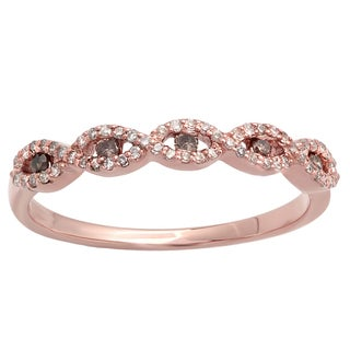 Elora 14k Rose Gold 1/4ct TDW Champagne and White Diamond Stackable Wedding Band Swirl Ring (I-J, I2-I3)