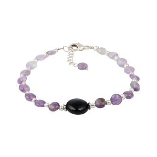 Pearlz Ocean Elegant Amethyst and Black Agate 8 Inches Gemstone Trendy Bracelet Jewelry for Women