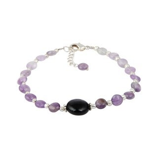 Pearlz Ocean Elegant Amethyst and Black Agate 8 Inches Gemstone Trendy Bracelet Jewelry for Women - Purple