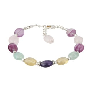 Pearlz Ocean Sparkling Fluorite Multi Color 8 Inches Gemstone Trendy Bracelet Jewelry for Women