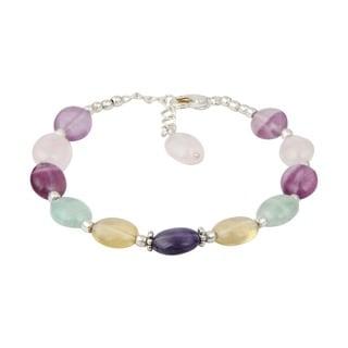 Pearlz Ocean Sparkling Fluorite Multi Color 8 Inches Gemstone Trendy Bracelet Jewelry for Women