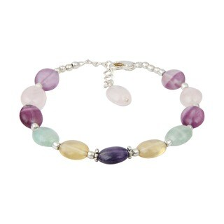 Pearlz Ocean Sparkling Fluorite Multi Color 8 Inches Gemstone Trendy Bracelet Jewelry for Women - Purple
