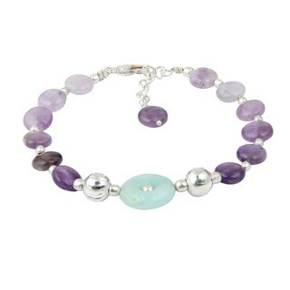 Pearlz Ocean Enthrall Amazonite and Amethyst 8 Inches Gemstone Trendy Bracelet Jewelry for Women